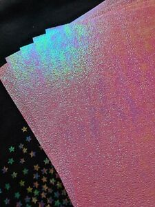 5x A4 craft paper thin Pink Iridescent Pearlescent Textured Sparkle