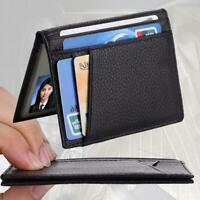 Fashion Men Slim Thin Genuine Leather Bifold Id Wallet Money Credit Card-Holder