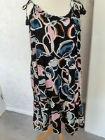 M&S Beachwear Dress UK Size 24 Black Mix Floral Strappy Long Maxi Holiday New