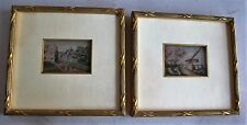 RARE PAIR of 19th C. Miniature Petit Point Panels Panels in Gilt Wood Frames