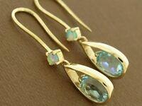 E062- Beautiful Genuine 9ct Solid Gold Natural Topaz  & Opal Drop Earrings
