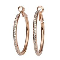 New Stunning Gold Plated Fashion Big Hoop Earings with Crystal (Rose Gold) SS