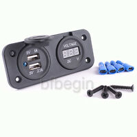 Car Motorcycle Phone Gauge Meter Voltage Volt Waterproof Dual USB Socket Charger