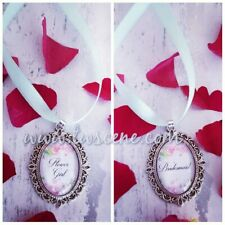 Flower girl bridesmaid maid of honour wedding bouquet necklace charm thank you