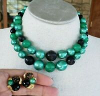 Vtg 1950s 2 Strand Green & Black Plastic Bead Choker & Cluster Earrings Set