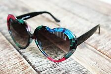 Pink Turquoise Flowers Heart Shape Women's Sunglasses Vintage Gradient Black Len