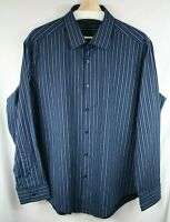 DKNY Blue Striped Long Sleeve Button Down Slim Fit Dress Shirt Size XL 17 32/33