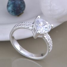 Ring Solitaire Stone Heart Ladies 925 Sterling Silver Crystal Engagement Size 8