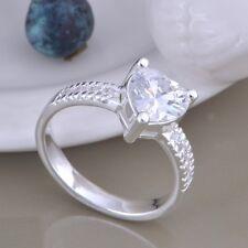 Anello solitario pietra Cuore Donna 925 Argento Sterling Cristallo Fidanzamento Taglia 8