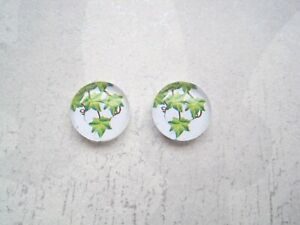 GREEN IVY LEAVES 12mm DOMED GLASS Stud Earrings Silver Plated Posts Leaf White