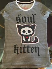 "Skelanimals T - Shirt  "" SOUL KITTEN "" Thin Black & White Strips Size X/Small !"