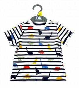 Ex Mothercare Baby Boys Navy Stripe Dino Dinosaur T-Shirt Top  3 6 9 18 24 Month