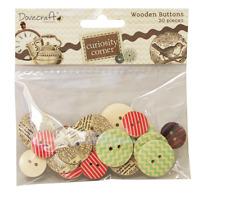 Dovecraft Curiosity Corner - Wooden Buttons - MIxed Designs - 20 Pcs
