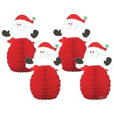 FATHER CHRISTMAS SANTA 4 MINI PARTY CENTREPIECE HONEYCOMB TABLE DECORATIONS