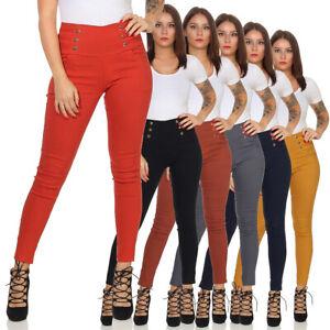 Treggings Hose Jeans Jeggings Röhre High Waist Leggings Steghose Stretch Knöpfe