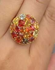 14k Solid Yellow Gold Cluster BigRound Ring, Natural Colors Sapphire 5TCW,Sz8.75