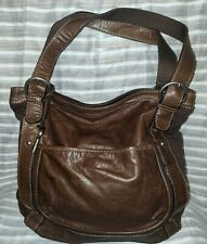 Fossil shoulder bag brown canvas with brown leather accents BoHo casual