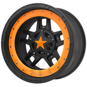 "XD827 Rockstar 3 20x9 5x5.5""/5x150 +25mm Black/Orange Ring Wheel Rim 20"" Inch"