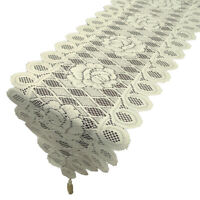 Tasseled Edge Table Runner Vintage Knitted Floral Lace Tablecloth Tabletop Decor