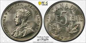 1922 Canada 5 Cents PCGS MS63 Lot#G468 Choice UNC!