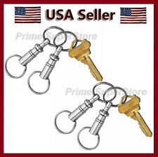 4 PCS PULL APART METAL KEY CHAIN QUICK-RELEASE CLIP O RING HOLDER SILVER COLOR