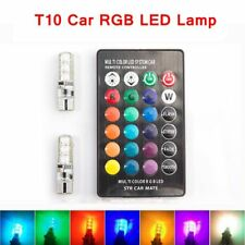 2pcs T10 W5W Car Lights LED Bulbs RGB with Remote Control 194 168 501 Strobe 12V