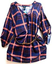 Rue+ navy blue plaid button plus size belted tunic shirt top 2X
