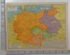 1941 WW2 MAP GERMAN GAINS UNDER HITLER 1933-1939 BOUNDARIES BOHEMIA SLOVAKIA