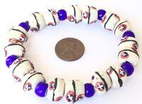 Handmade Ghana Blue multi recycled glass bracelet- African Trade Beads