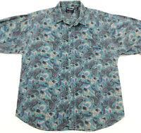 vtg 90s REVENGE Paisley Short Sleeve Button Front Shirt Mens XL faded vaporwave