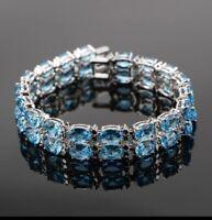 Natural Blue Fire & White Topaz 925 Sterling Silver Tennis Bracelet Bangle Adj