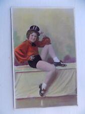 Showgirl Dancer Top Hat Vintage Old Unposted Postcard damaged reverse