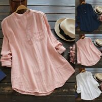 Women Cotton Summer Gypsy Baggy Tunic Top Shirt Long Sleeve Blouse Plus Size Lot