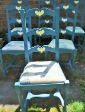 Six original wooden hand painted dining room chairs with folk art heart details