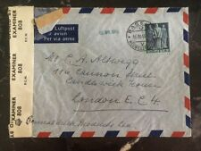 1945 Basel Switzerland censored airmail cover to General Milk Pro London England