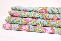 5 Yard Hand Block Print Handmade Flower Indian Fabric Natural Jaipuri Throw