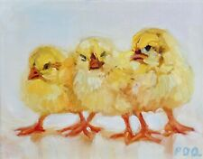 Artist PDQ Original Oil Painting Canvas Farm Animal Chicks Chickens Art Realism