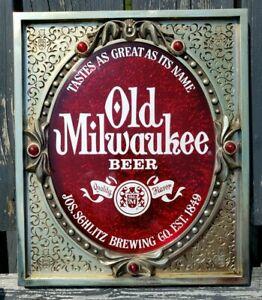 VINTAGE 1976 3D OLD MILWAUKEE BEER SIGN WISCONSIN ~NICE!!