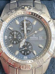 Chronographe Festina F16169 montre Quartz Boite Certificat Garantie 42 mm 10 ATM