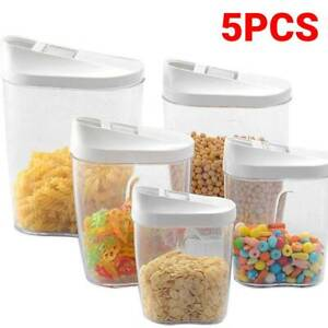 5pcs Cereal Dispenser Dry Food Pasta Rice Storage Container Plastic Clear Box