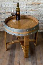 Wine Barrel Side Table by Alpine Wine Design, Natural Finish Burgundy Oak