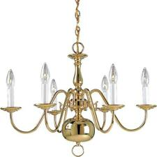Chandelier 6-Light Single Tier Candle-Style Ambient Metal in Polished Brass