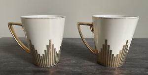Biba Starburst Art Deco Style Mugs X 2 With Gold Design