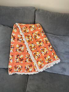 Vintage 100%Cotton Handmade Granny Square Scalloped Egde 50x50 Bright Orange