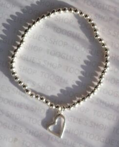 HANDMADE SILVER PLATED STACKING BEAD STRETCH BRACELET - HEART CHARM BNWT (095)