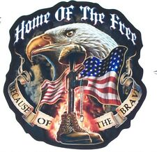 Home of free Because of Brave Window Wall Decal Decals Sticker Army Navy Marine
