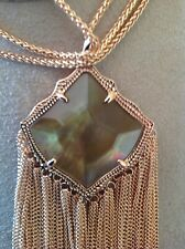 Kendra Scott Kingston Brown MOP Long Pendant Necklace Rose Gold Fringe RARE