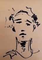 "JOSE TRUJILLO Blue Color Original OIL PAINTING on Paper 18x24"" Contemporary COA"