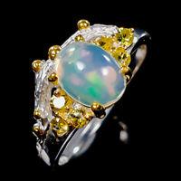 Opal Ring Silver 925 Sterling Fine Art Design Size 8 /R138015