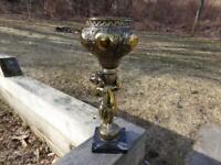 Vintage Brass Cherub Naked Boy Standing Planter ~ Genuine Carrare Marble Base